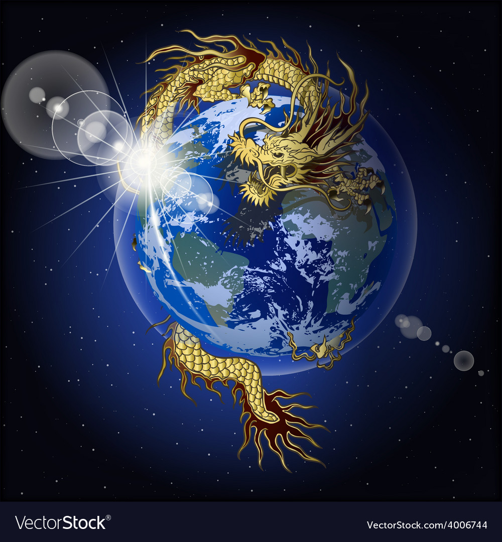 Chinese dragon holding planet earth vector | Price: 3 Credit (USD $3)