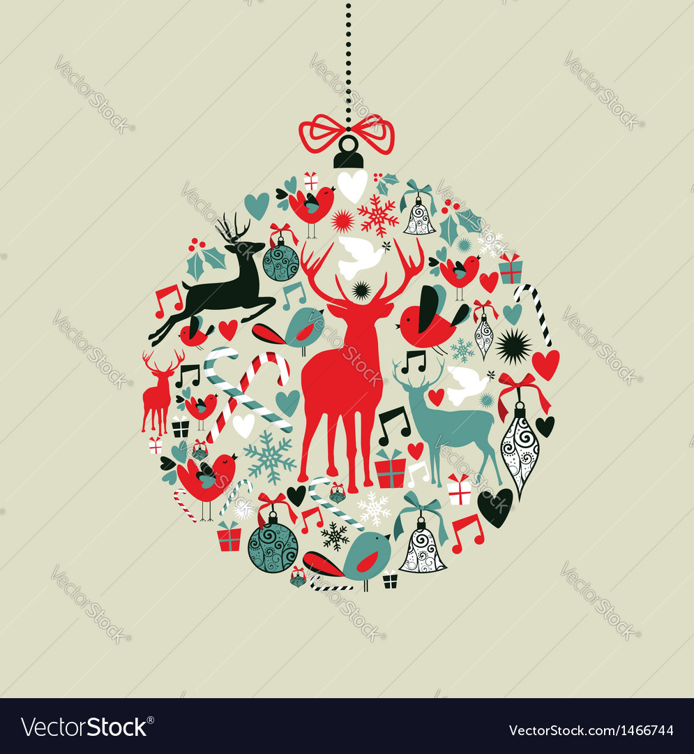Christmas icons in bauble shape vector | Price: 3 Credit (USD $3)