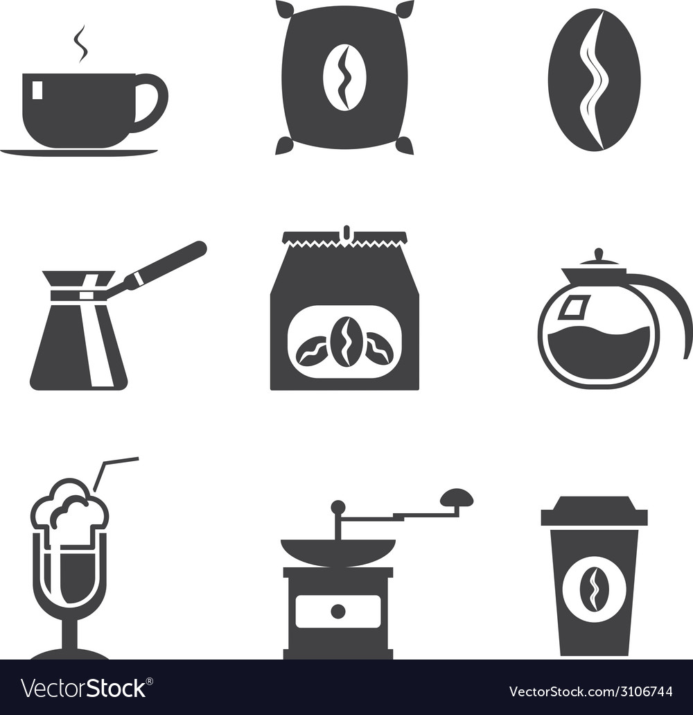 Coffe modern trendy silhouette isolated icons set vector | Price: 1 Credit (USD $1)