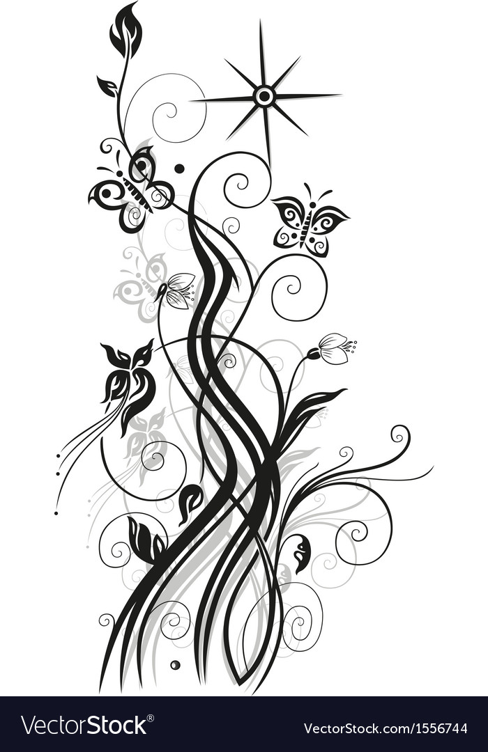 Flowers floral element black vector | Price: 1 Credit (USD $1)