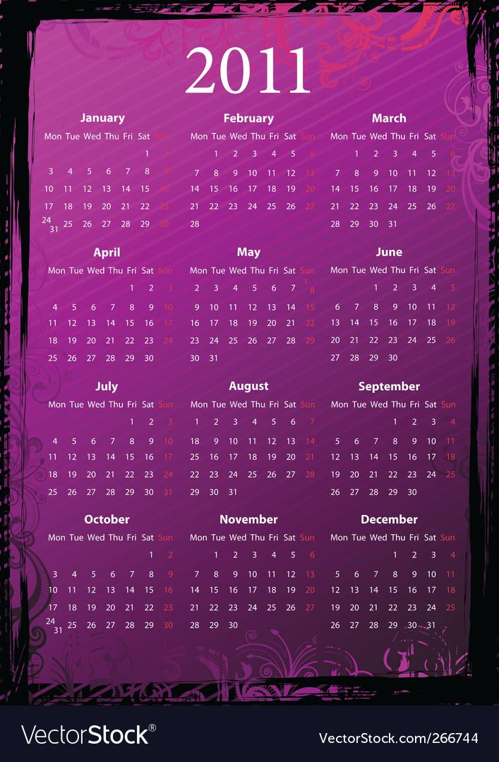 Grunge calendar 2011 vector | Price: 1 Credit (USD $1)