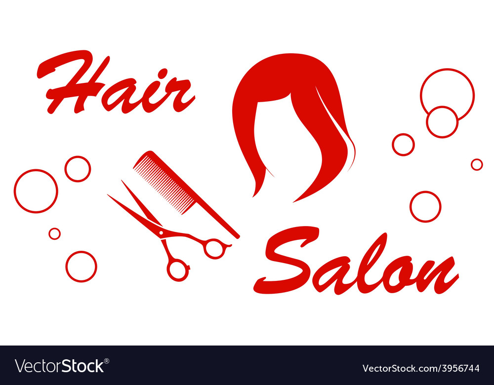 Hair salon red symbol vector | Price: 1 Credit (USD $1)
