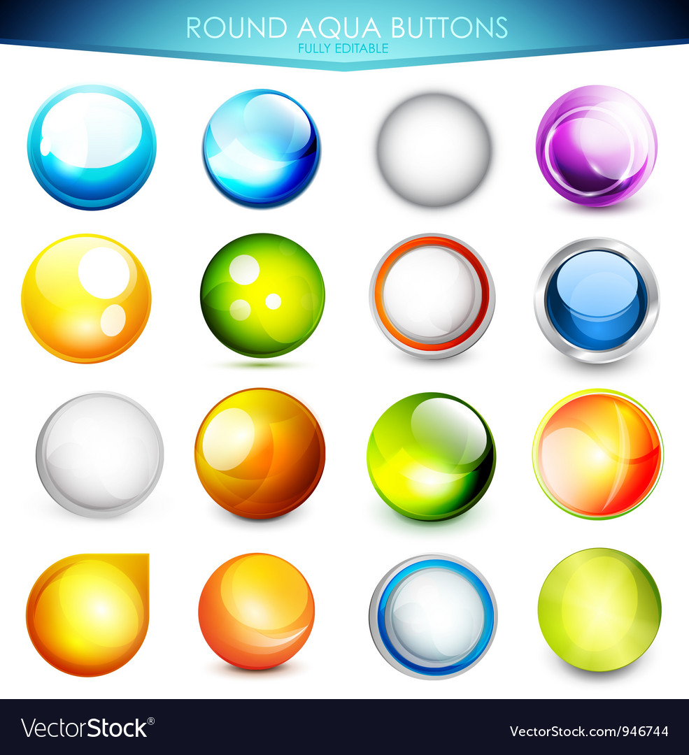 Set of colorful aqua buttons vector | Price: 1 Credit (USD $1)
