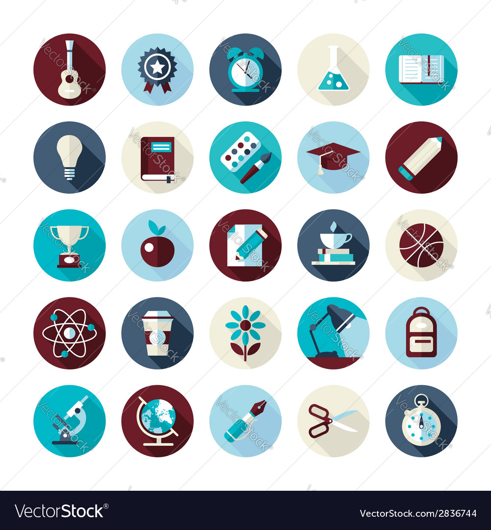 Set of flat design icons with long shadows vector