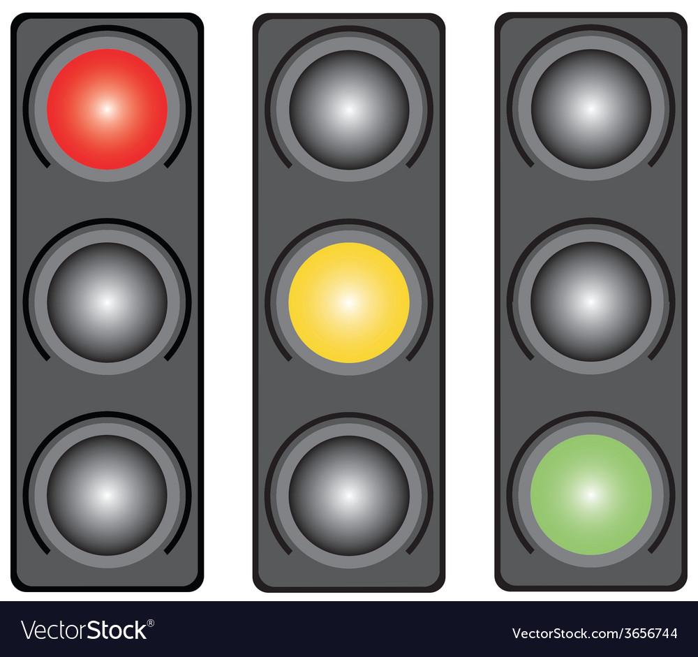 Traffic light three coloured vector | Price: 1 Credit (USD $1)