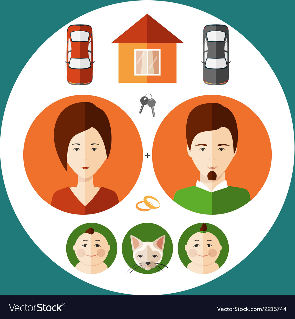 Young family in a flat style vector | Price: 1 Credit (USD $1)