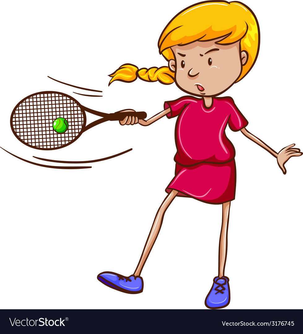 A female tennis player vector | Price: 1 Credit (USD $1)