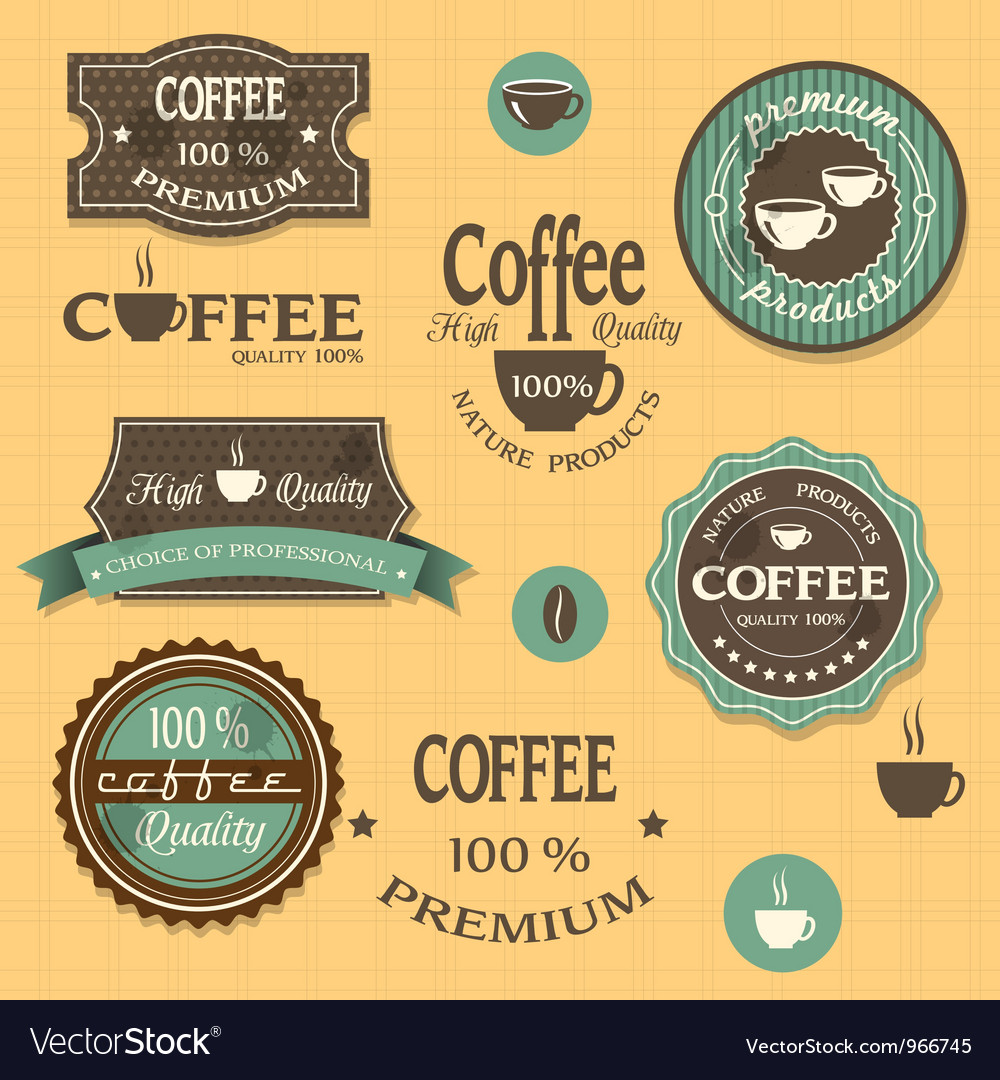 Coffee labels for design vintage style vector | Price: 1 Credit (USD $1)