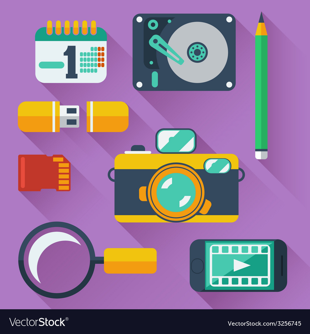 Data storage devices icons vector | Price: 1 Credit (USD $1)