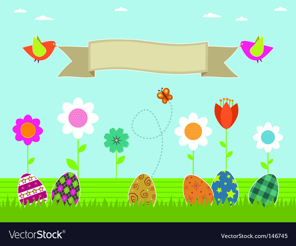 Easter flower garden vector | Price: 1 Credit (USD $1)