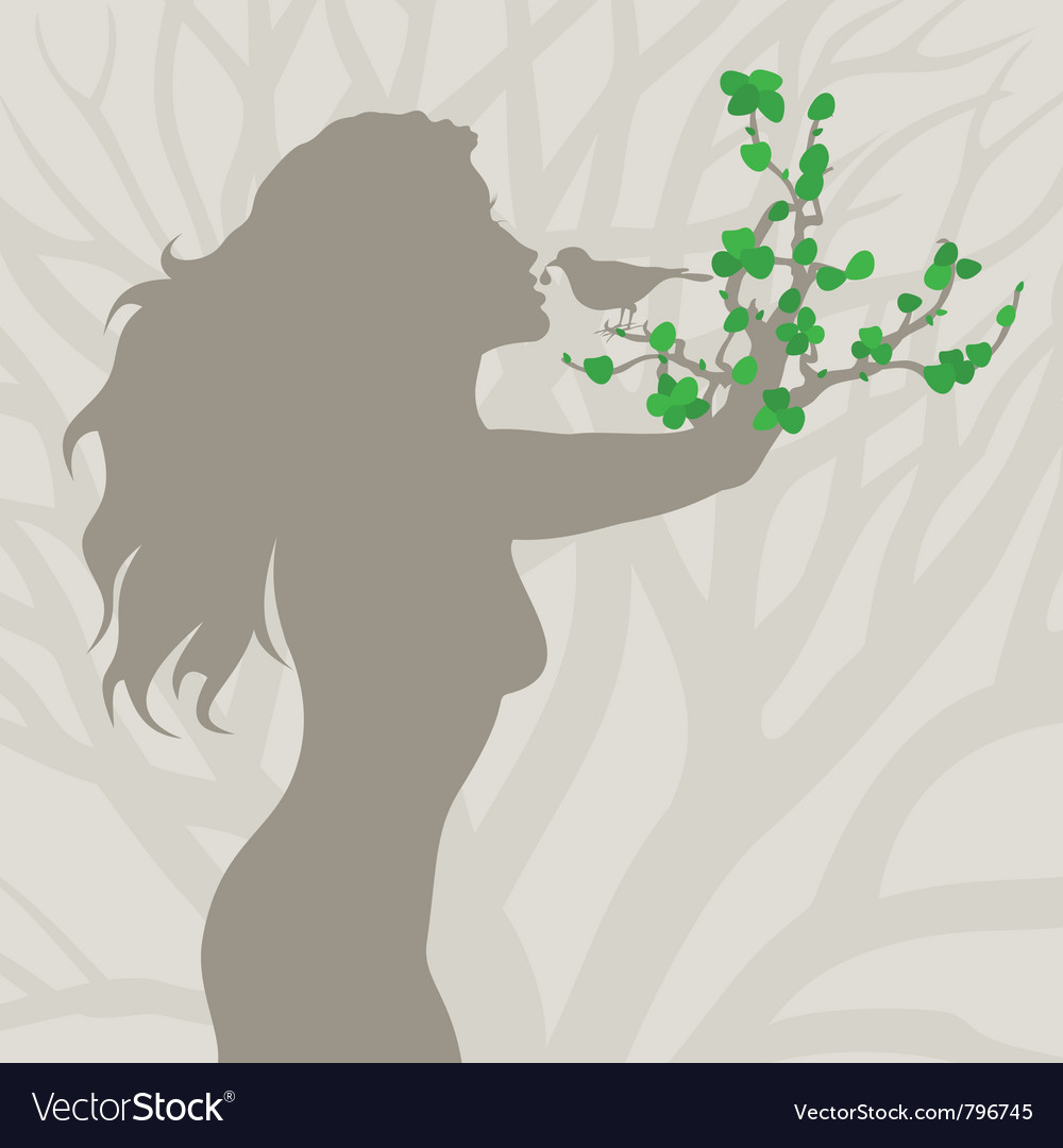Girl tree arm vector | Price: 1 Credit (USD $1)
