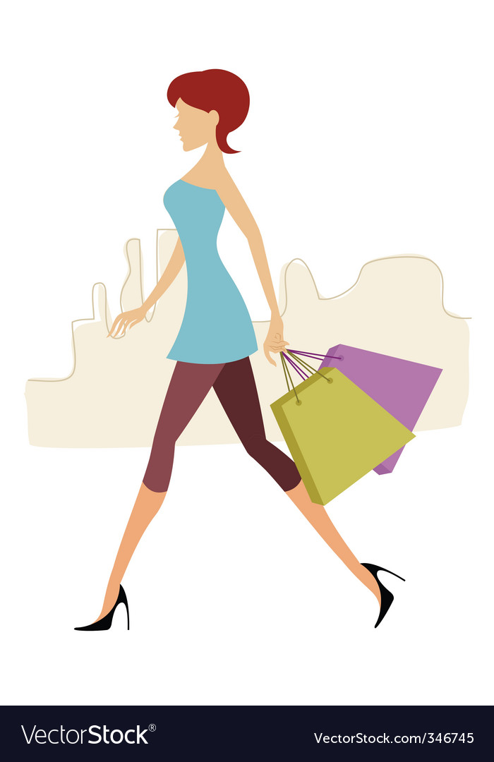 Lady with shopping bags vector | Price: 1 Credit (USD $1)