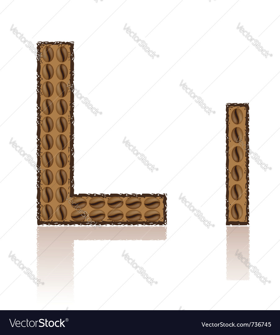 Letter l is made grains of coffee isolated on whit vector | Price: 1 Credit (USD $1)
