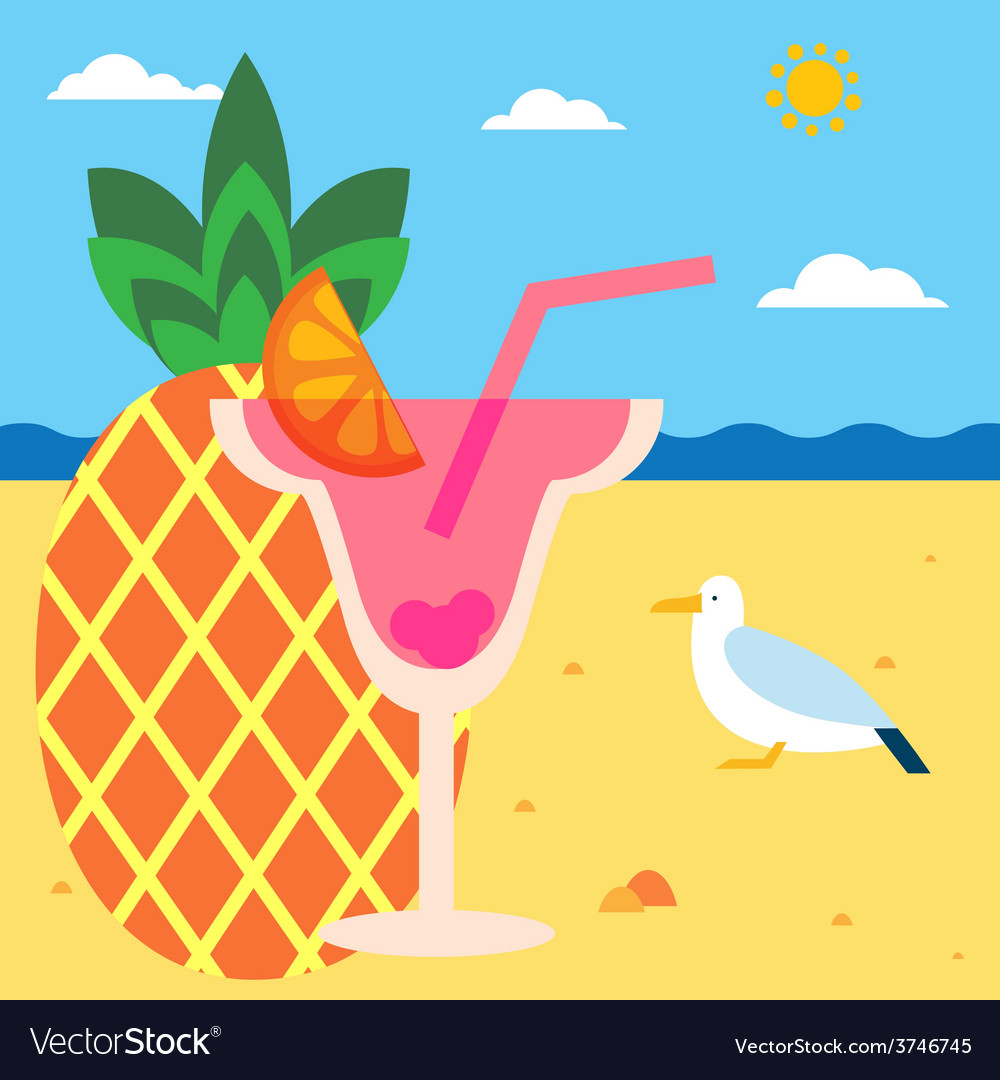 Pineapple juice on a beach vector | Price: 1 Credit (USD $1)