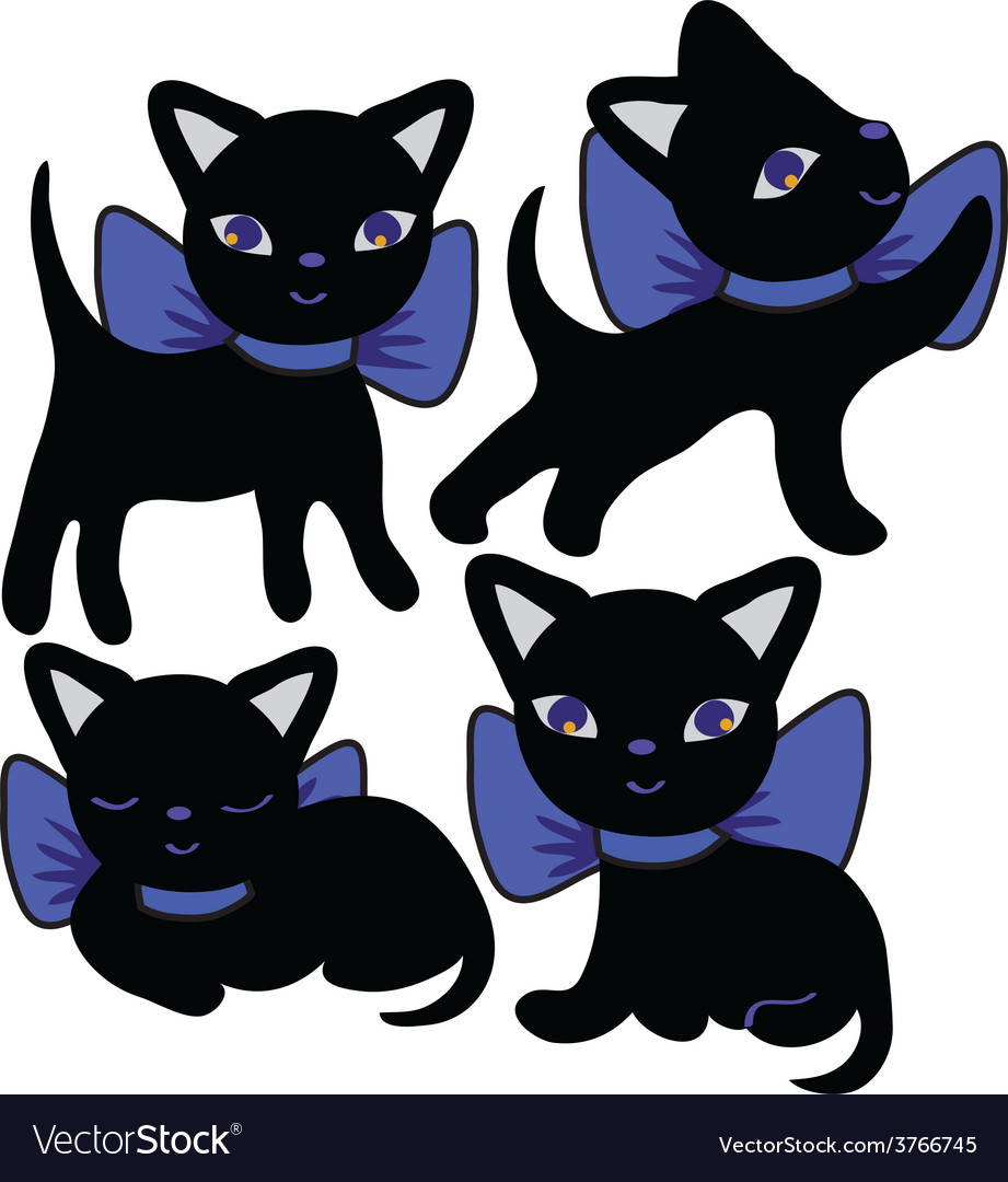 Set of cats silhouettes cartoon vector | Price: 1 Credit (USD $1)