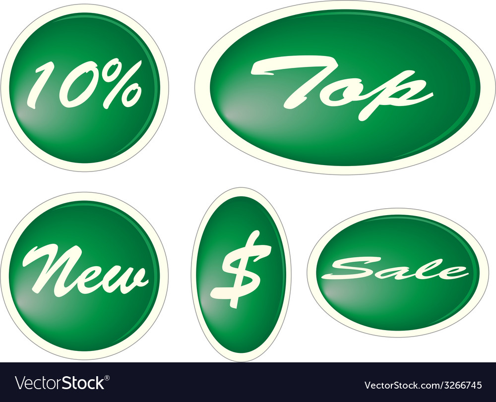 Set of green circle labels vector | Price: 1 Credit (USD $1)