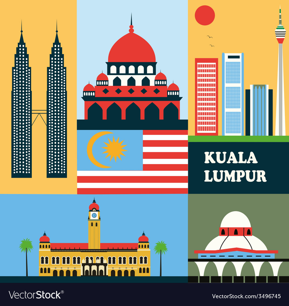 Symbols of kuala lumpur vector | Price: 1 Credit (USD $1)