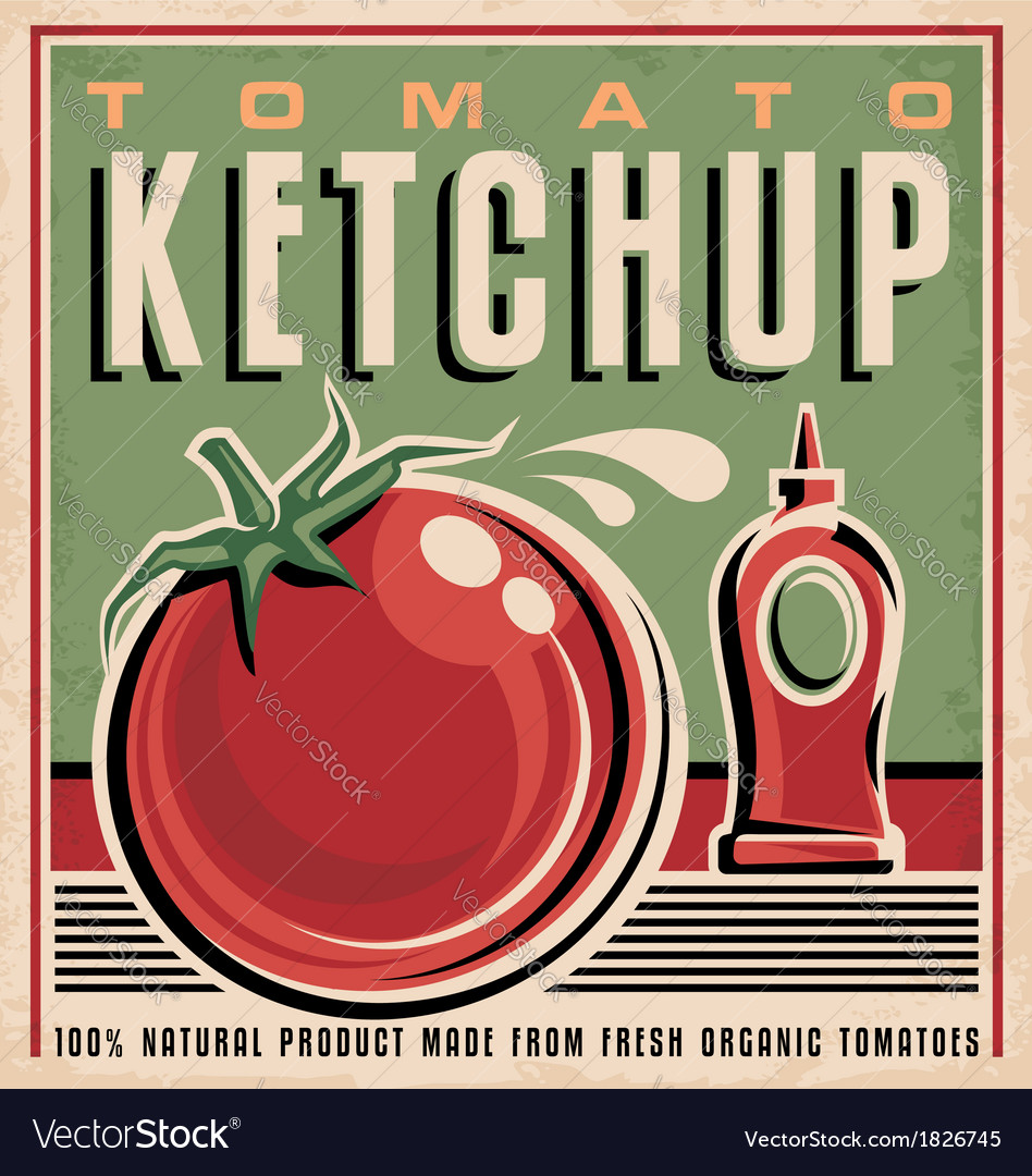 Tomato ketchup retro design concept vector | Price: 1 Credit (USD $1)