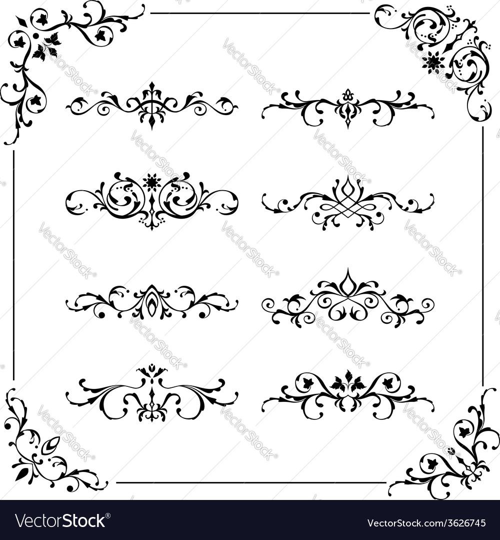 Vintage frame border divider corner vector | Price: 1 Credit (USD $1)