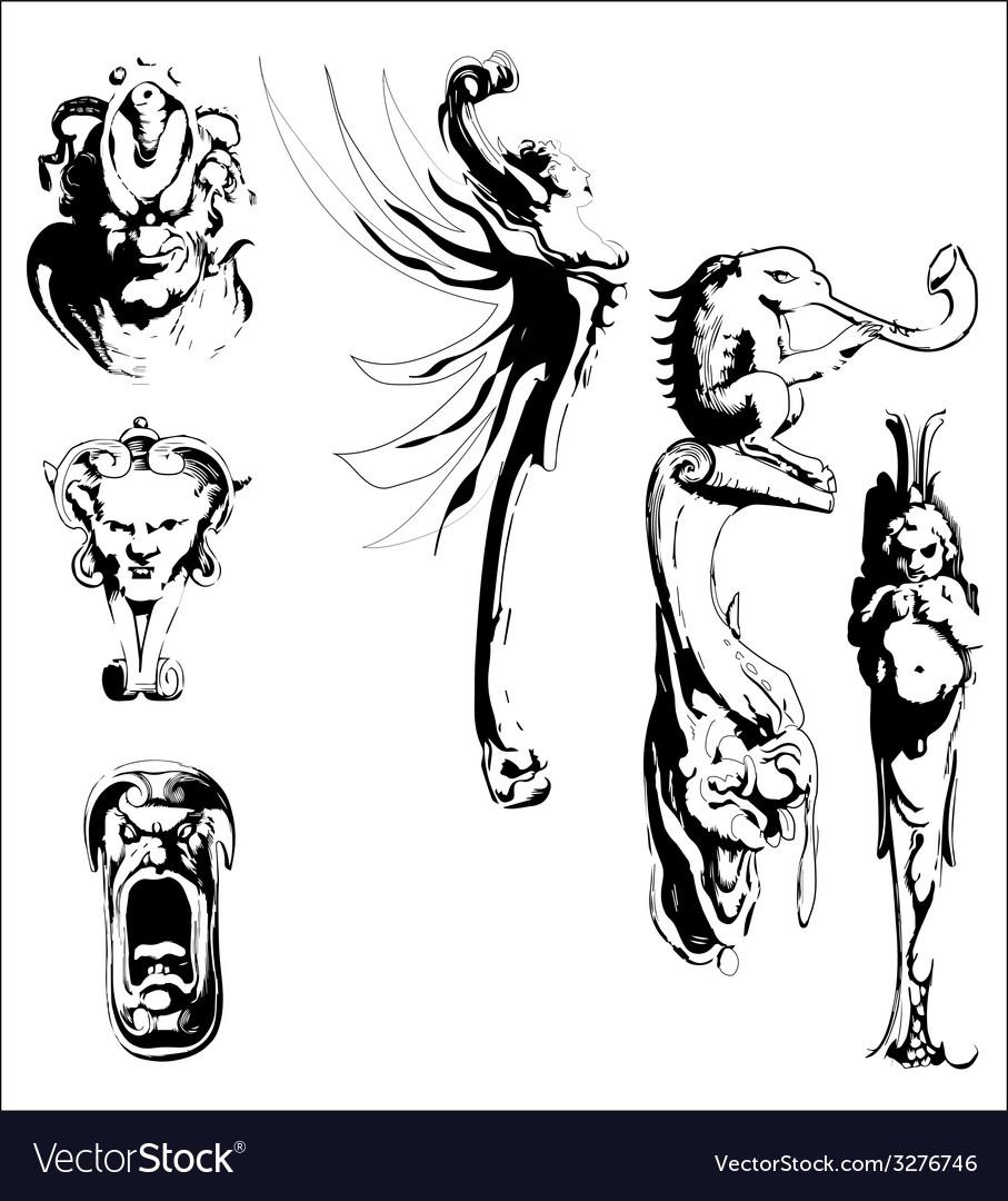 Black and white vintage design elements vector | Price: 1 Credit (USD $1)