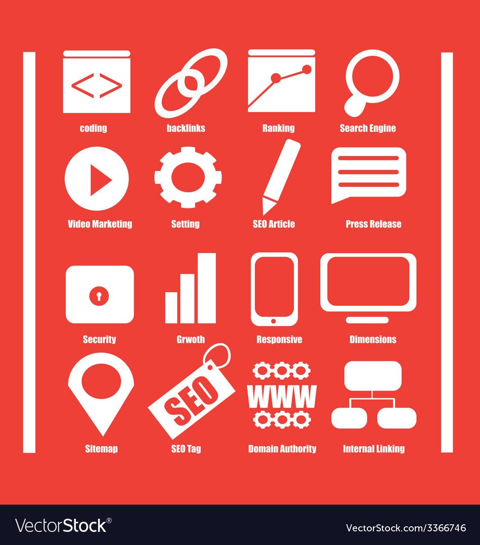 Flat modern seo icons vector | Price: 1 Credit (USD $1)