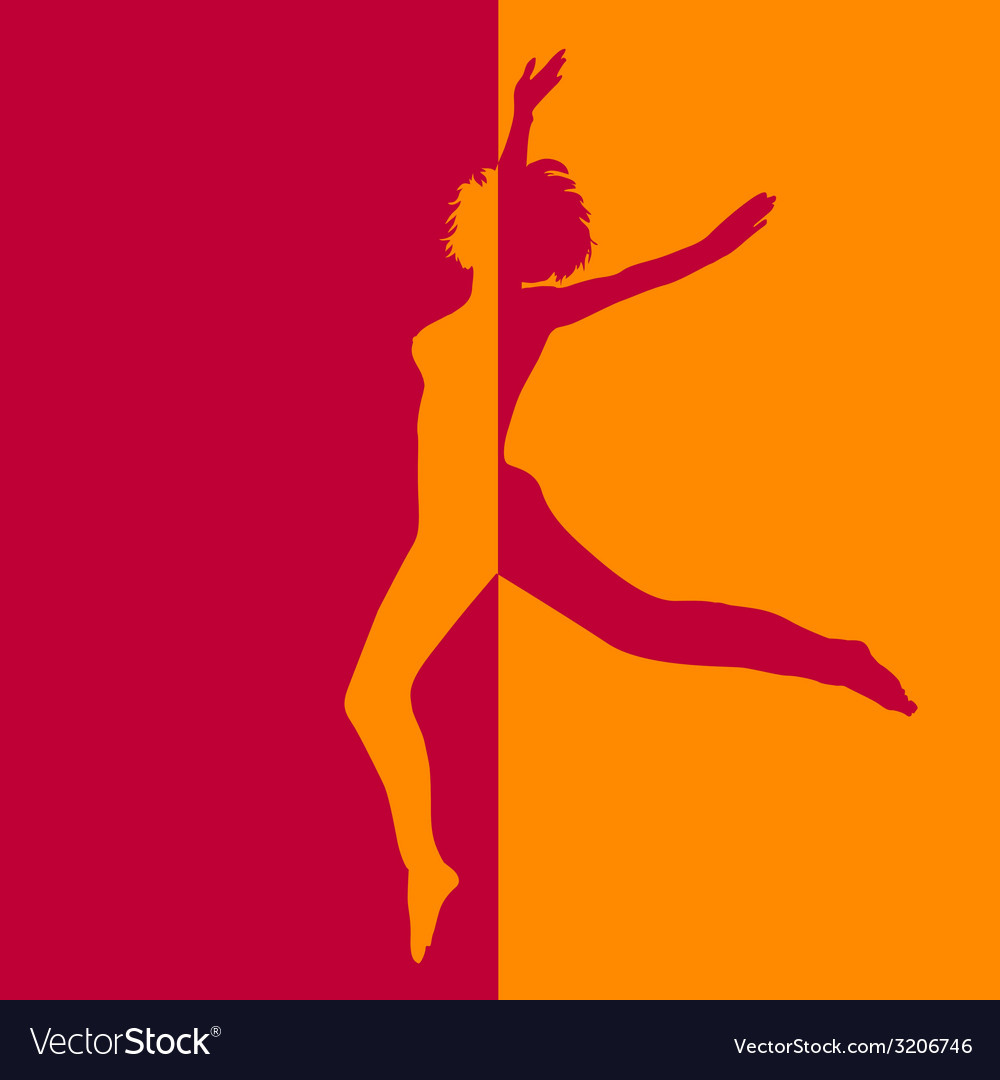 Girl in high jump in two colors vector | Price: 1 Credit (USD $1)