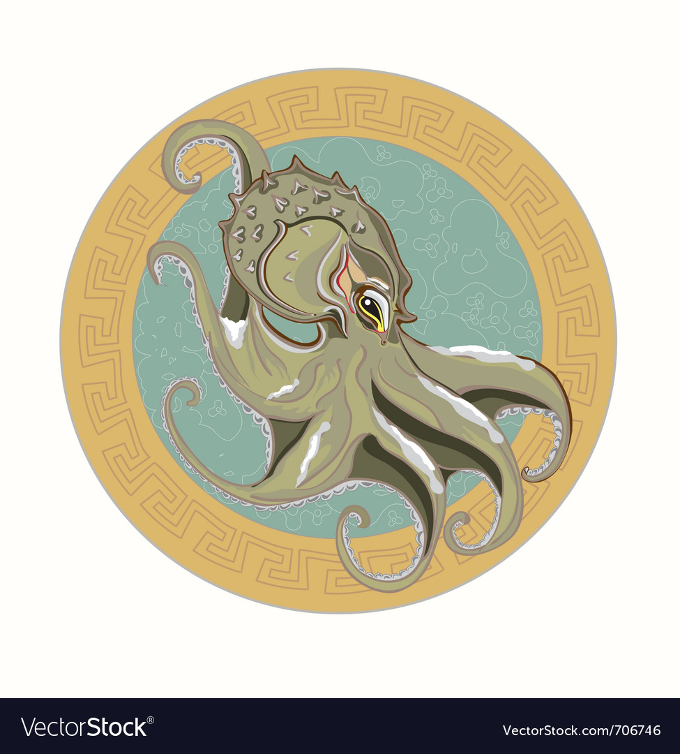 Gray octopus vector | Price: 3 Credit (USD $3)