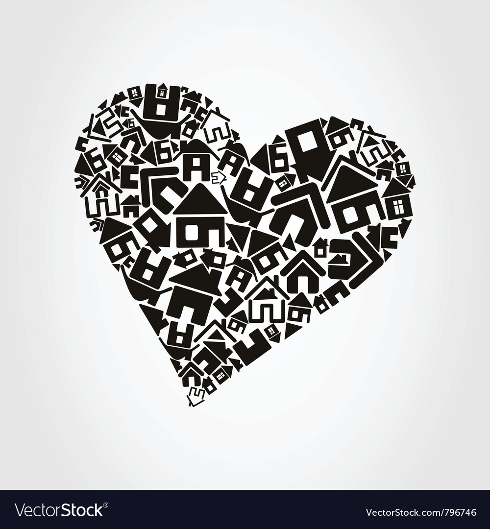 Heart made of houses vector | Price: 1 Credit (USD $1)