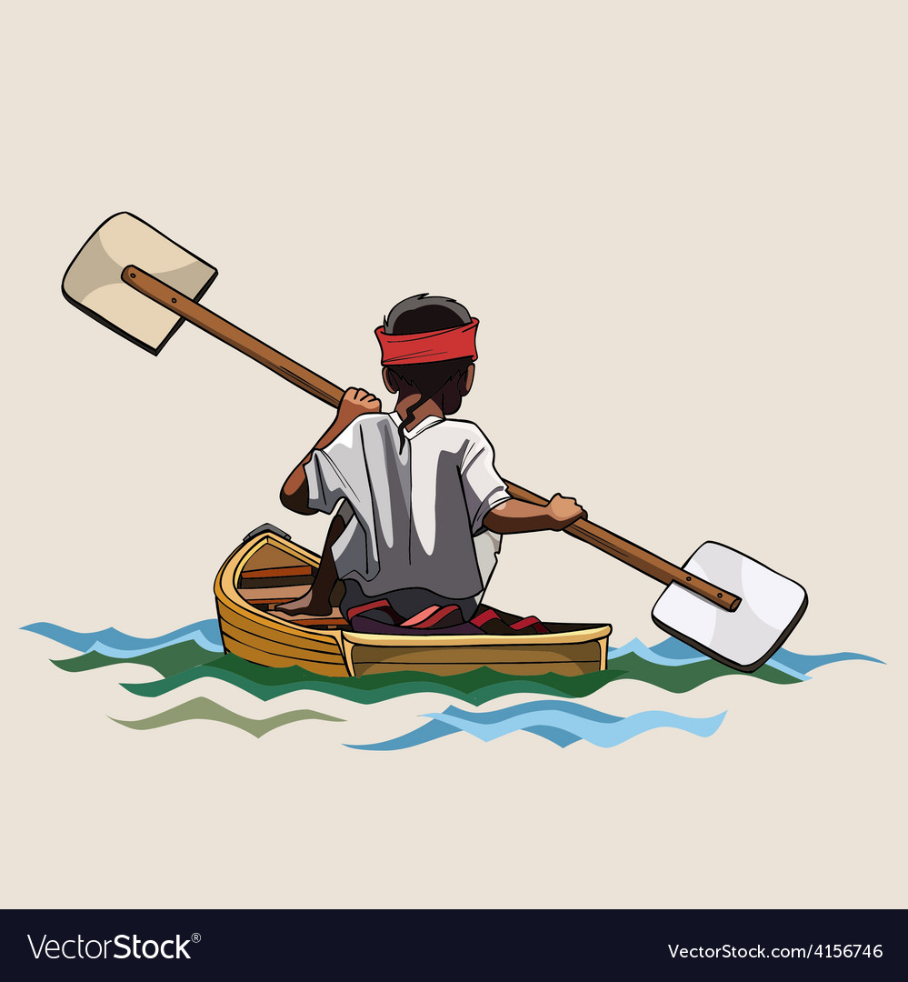 Man in a canoe with paddle bilateral vector | Price: 3 Credit (USD $3)