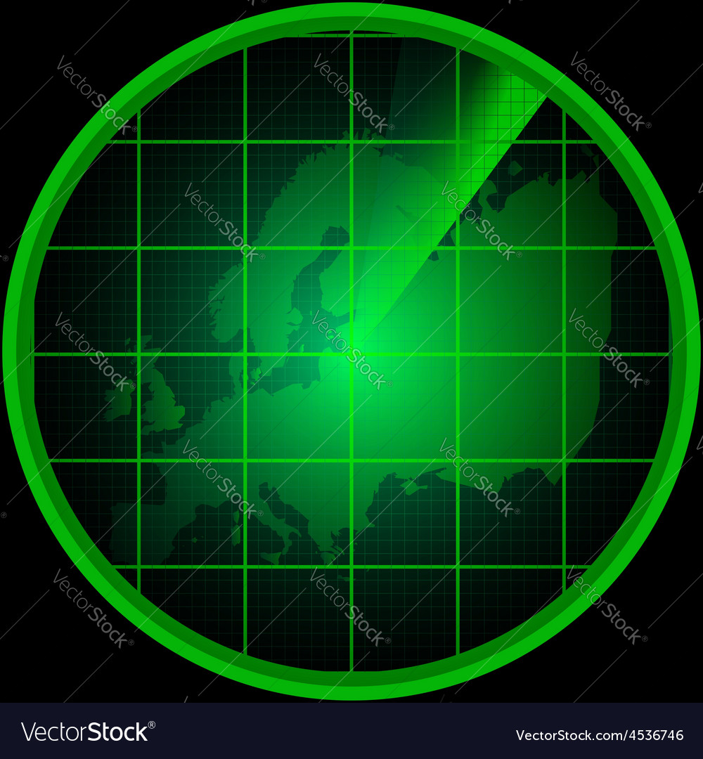Radar screen with a silhouette of europe vector | Price: 1 Credit (USD $1)