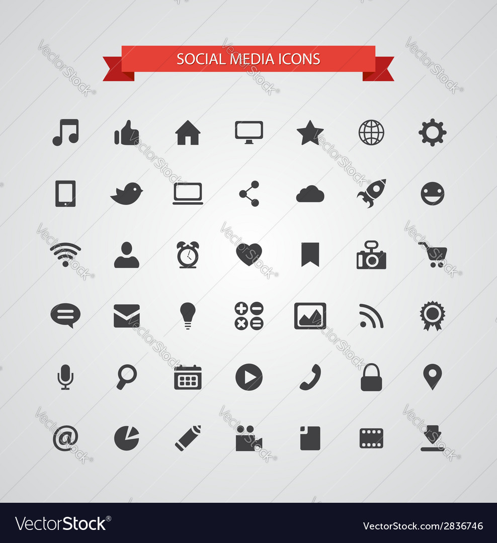 Set of modern flat design social media icons vector | Price: 1 Credit (USD $1)