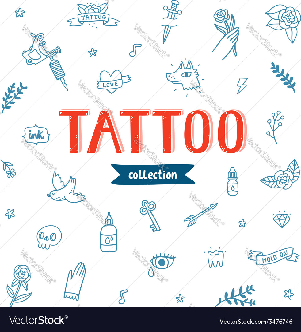 Tattoo doodles collection vector | Price: 1 Credit (USD $1)