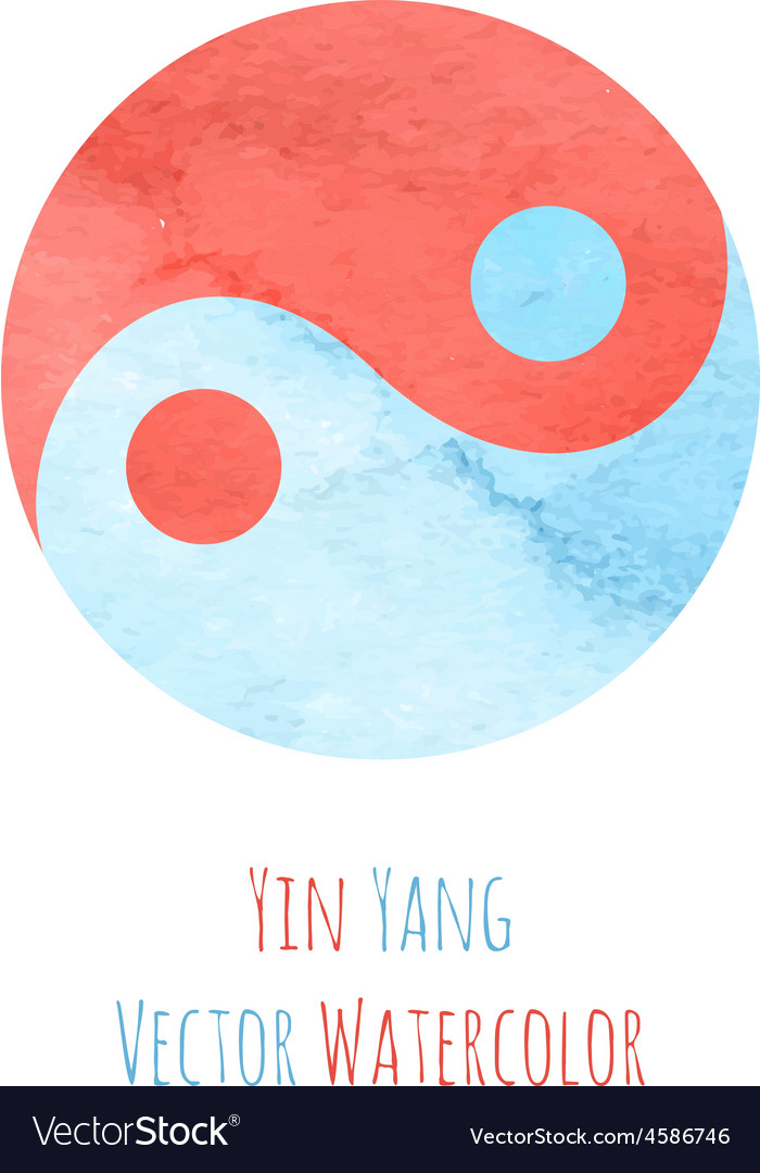 Yin yang watercolor vector | Price: 1 Credit (USD $1)