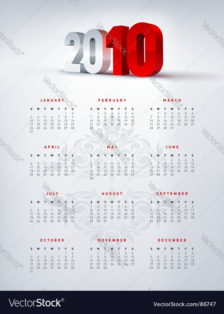 2010 calendar vector | Price: 1 Credit (USD $1)