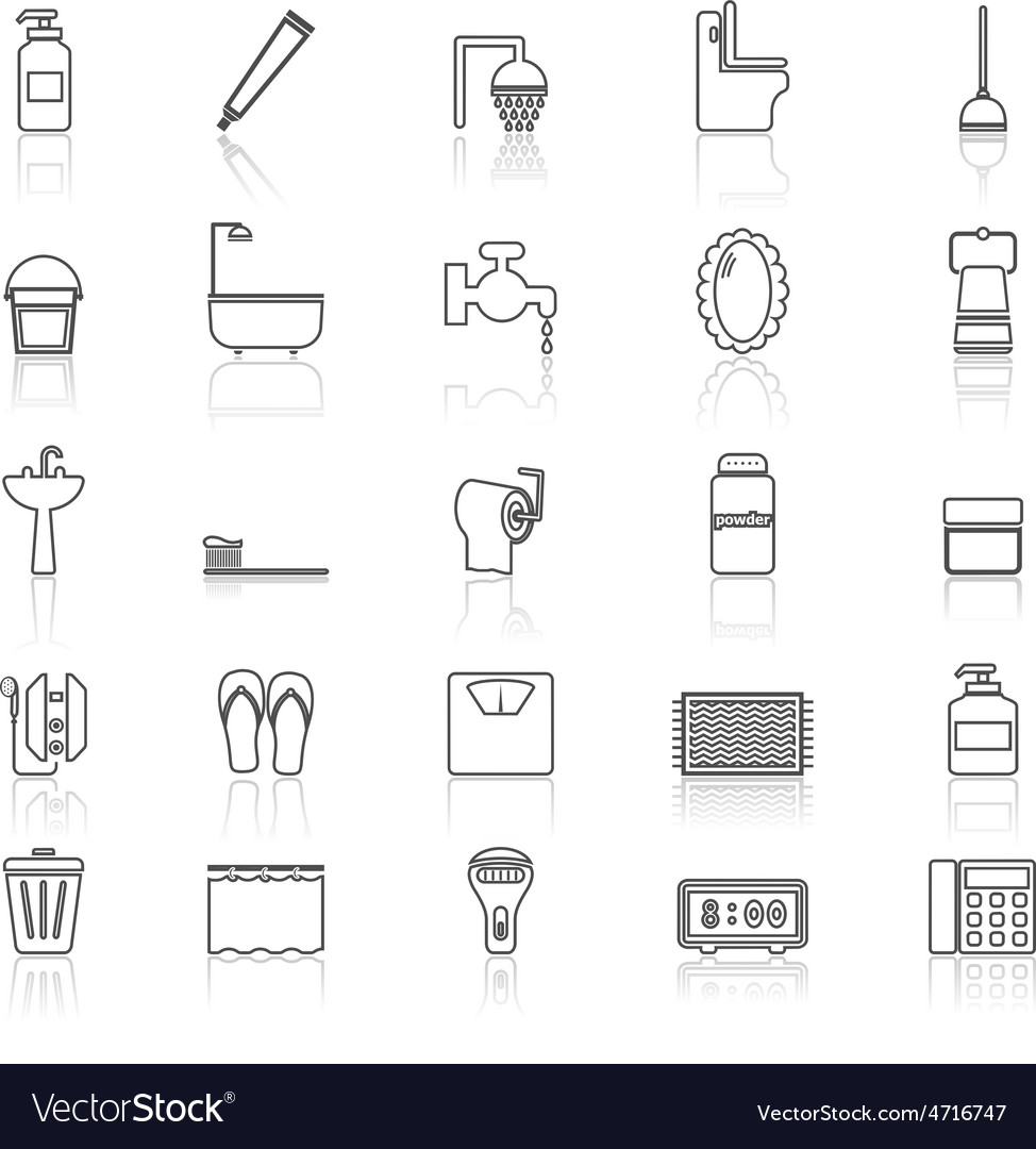 Bathroom line icons with reflect on white vector | Price: 1 Credit (USD $1)