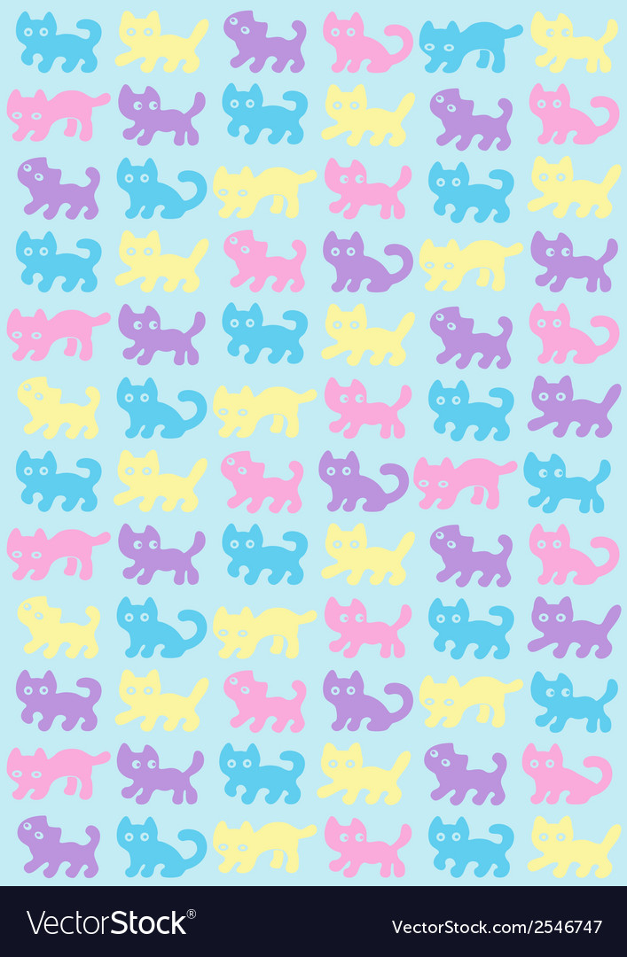 Cats pattern in pastel colors vector | Price: 1 Credit (USD $1)