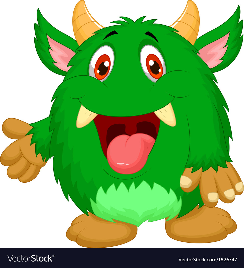 Cute green monster cartoon vector | Price: 1 Credit (USD $1)