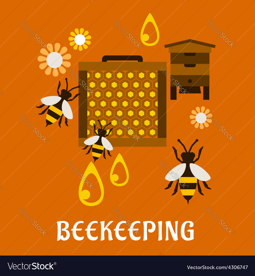 Flat beekeeping concept with beehive and bees vector | Price: 1 Credit (USD $1)