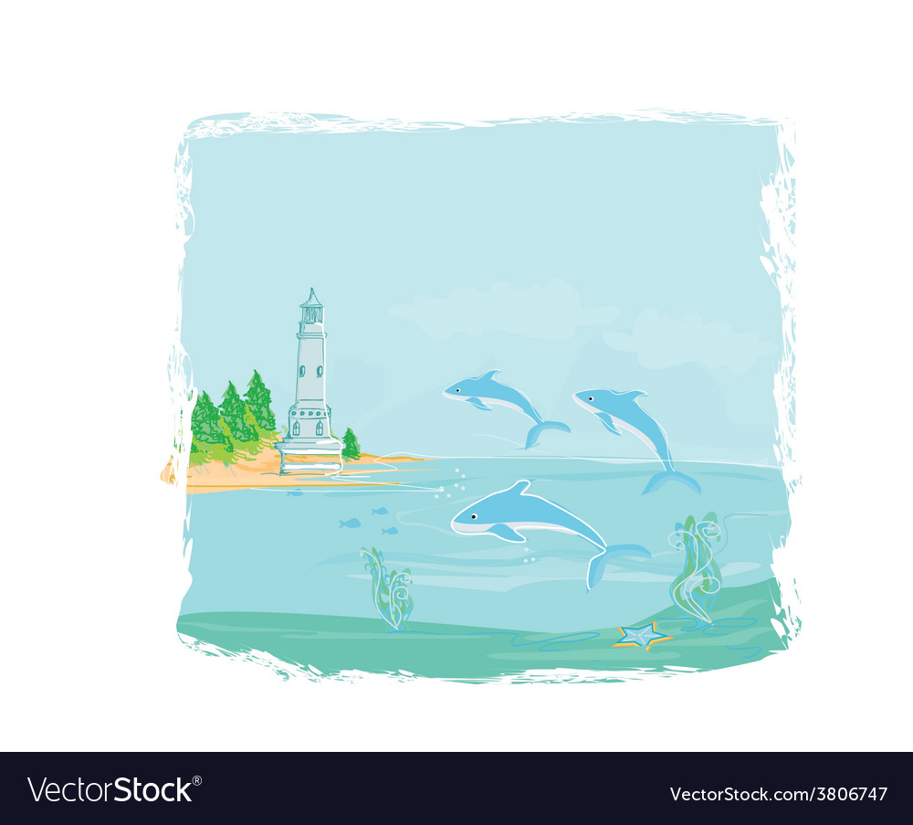 Lighthouse seen from a tiny beach and dolphins vector | Price: 1 Credit (USD $1)