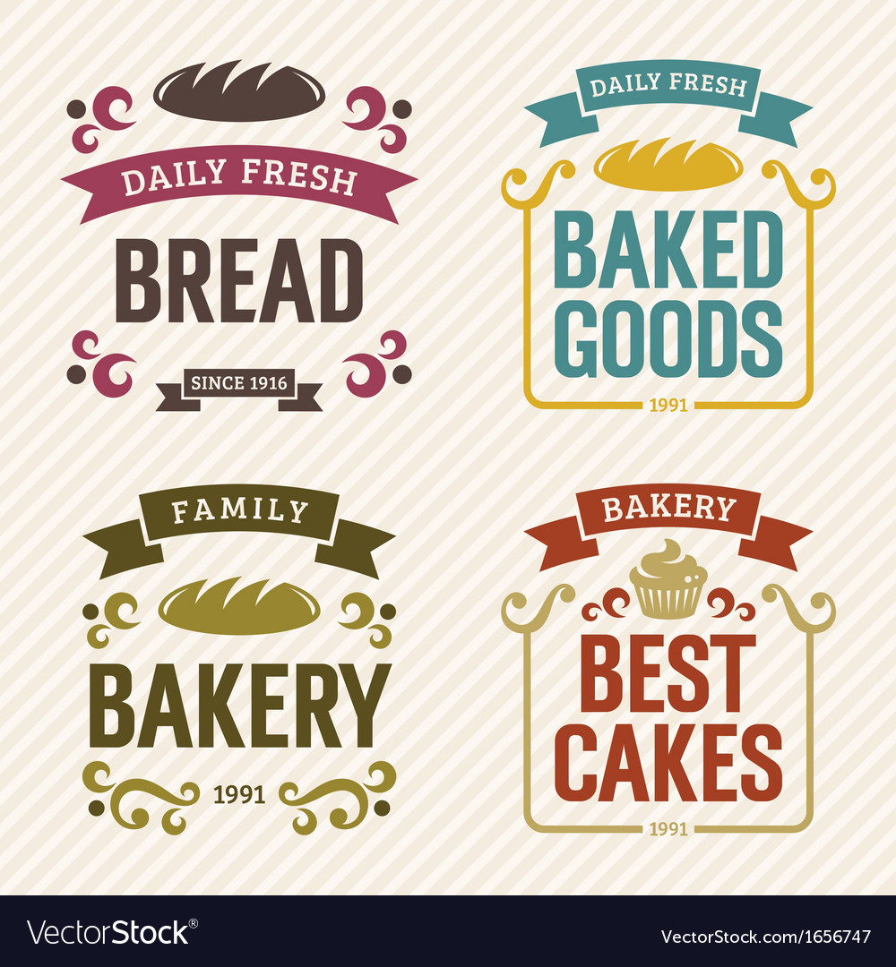 Retro bakery labels vector | Price: 1 Credit (USD $1)