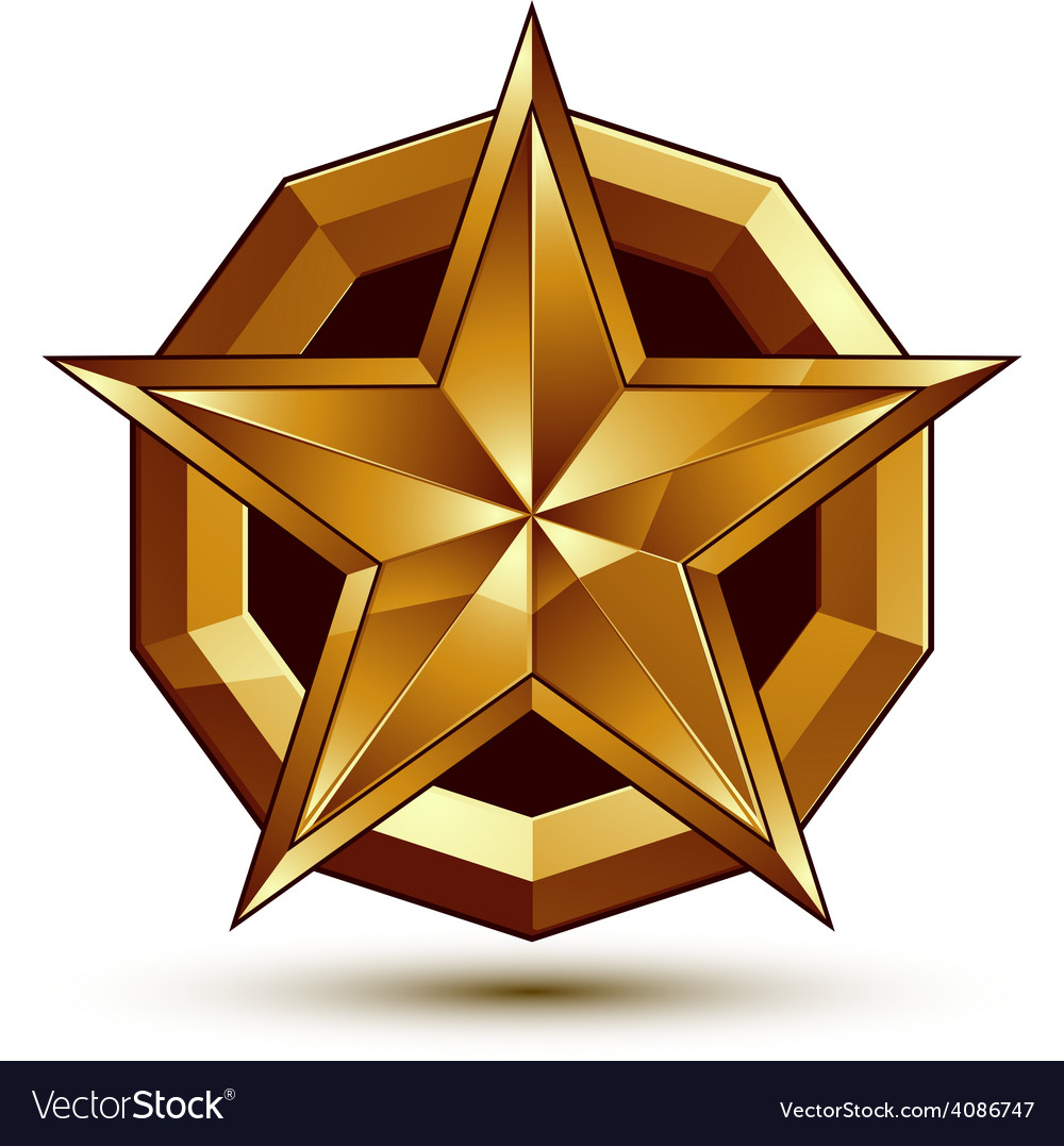 Royal golden geometric symbol stylized golden star vector | Price: 1 Credit (USD $1)
