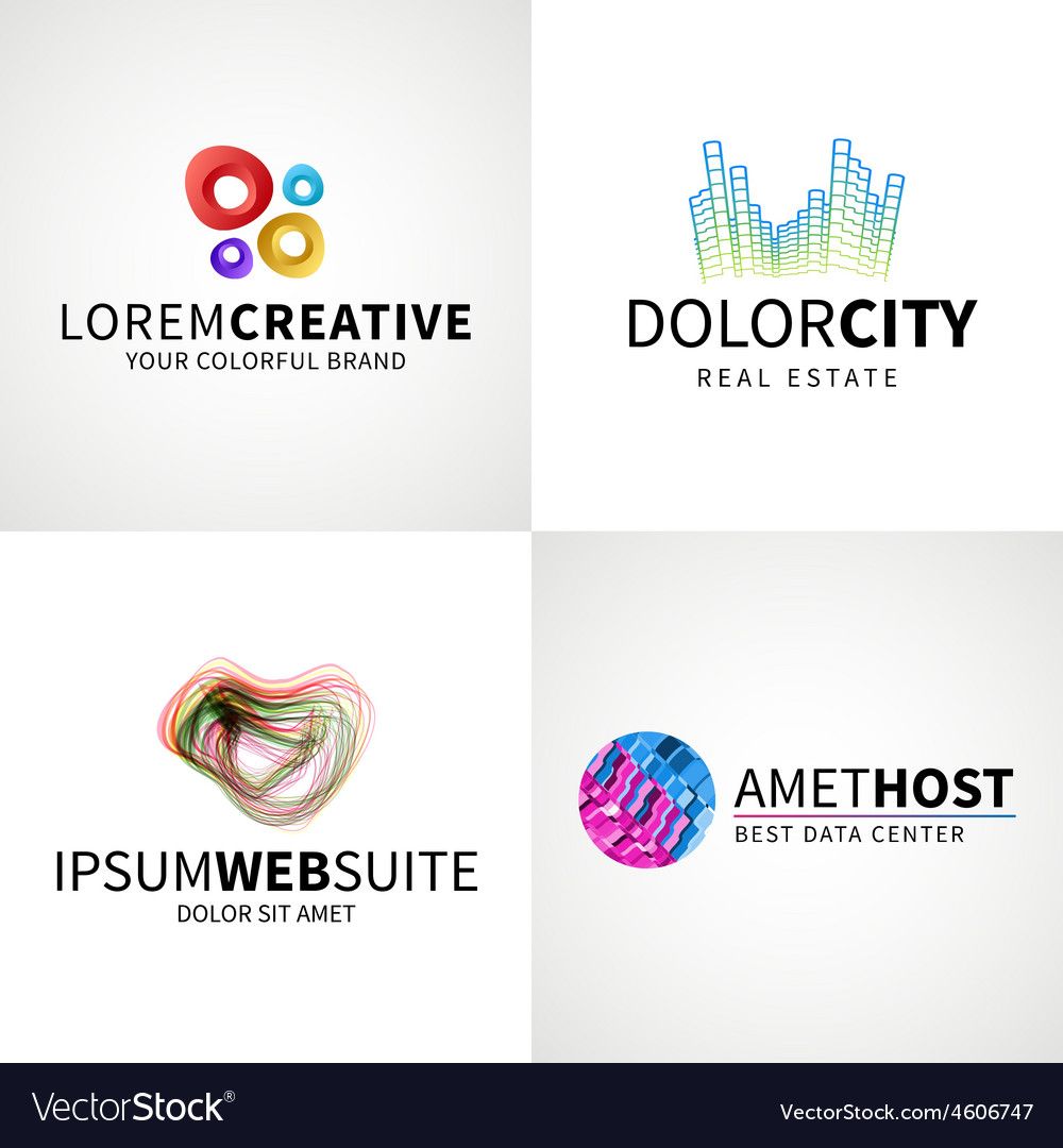Set of modern colorful abstract creative web host vector | Price: 1 Credit (USD $1)