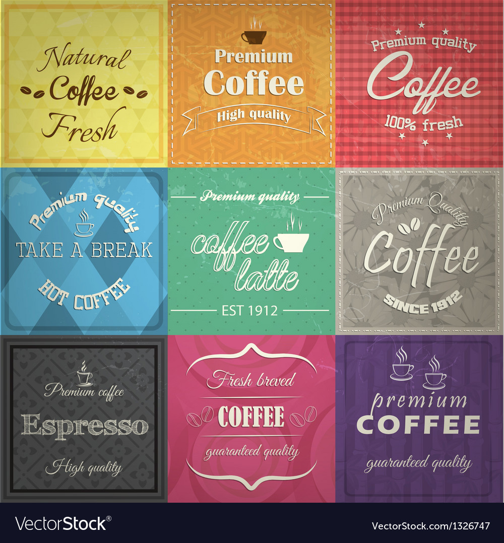 Set of retro coffe label cards vector | Price: 1 Credit (USD $1)