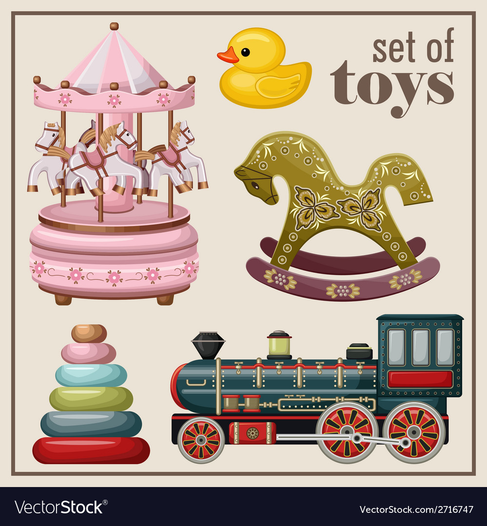 Set of vintage toys vector | Price: 1 Credit (USD $1)