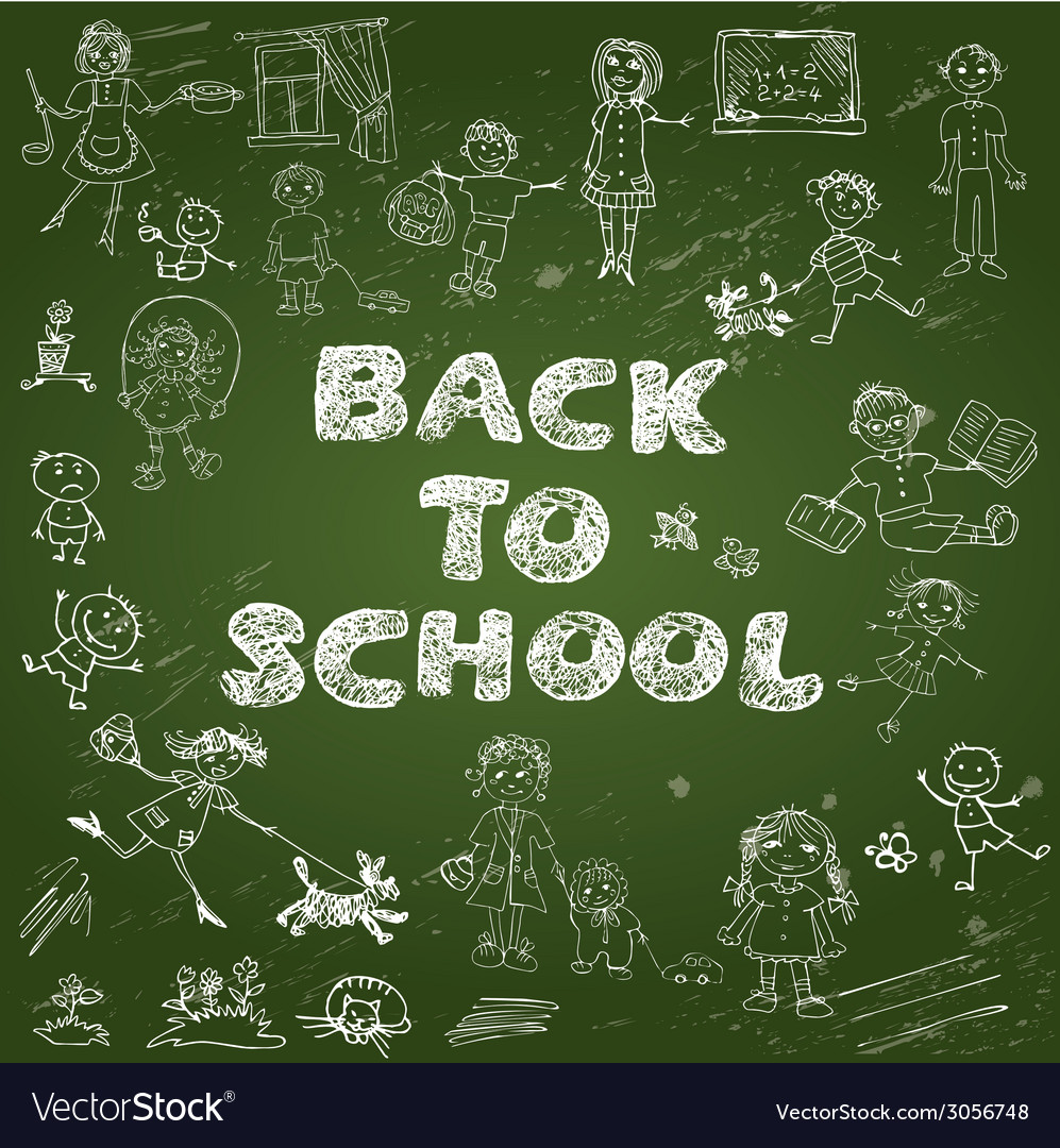 Chalkboard with green surface set of kids drawing vector | Price: 1 Credit (USD $1)