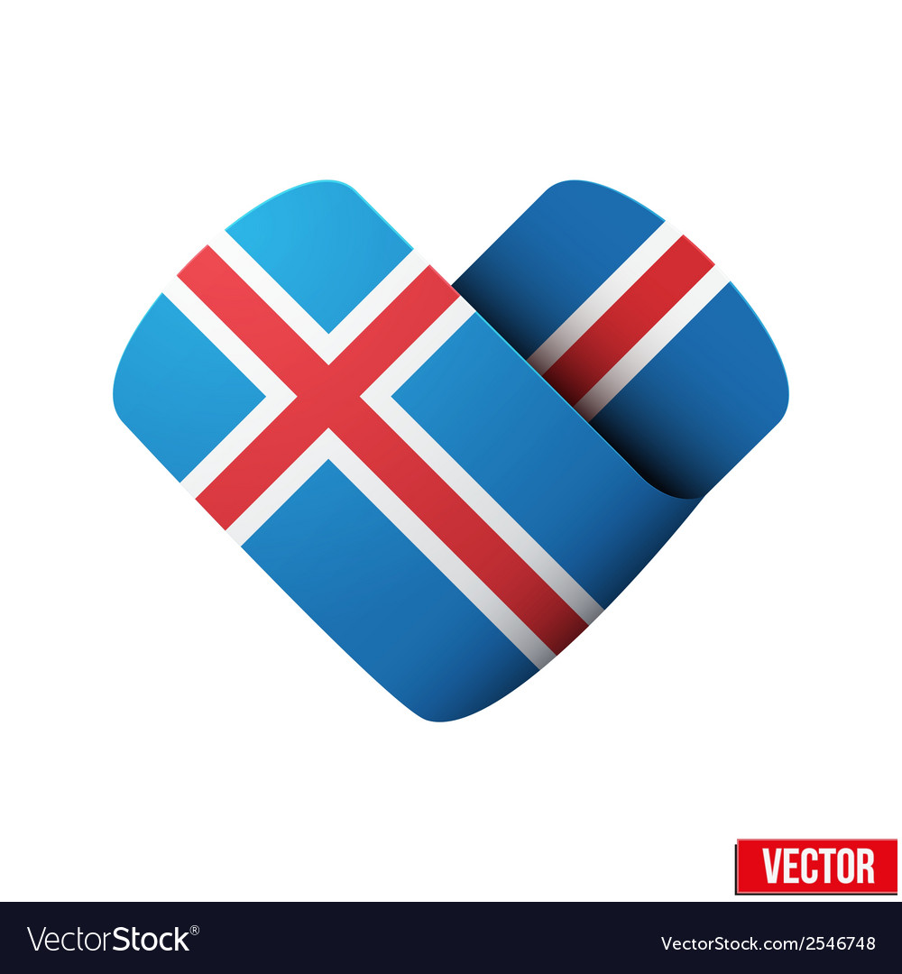 Flag icon in the form of heart i love iceland vector | Price: 1 Credit (USD $1)