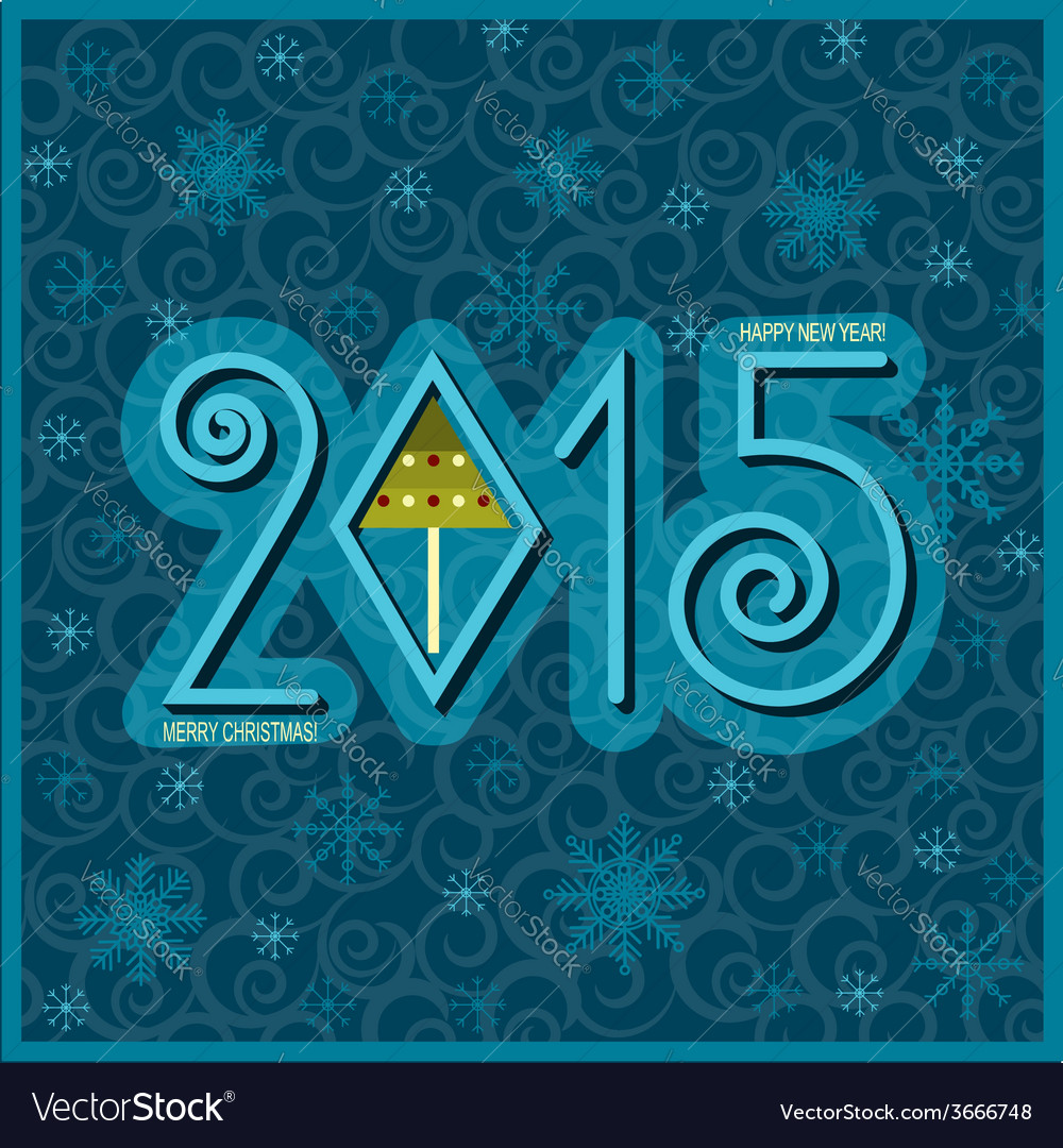 Happy new year card blue vector | Price: 1 Credit (USD $1)