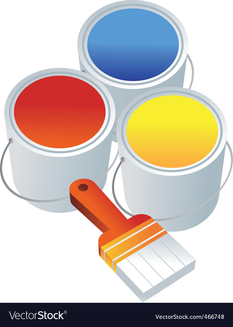Paint buckets brush vector | Price: 1 Credit (USD $1)