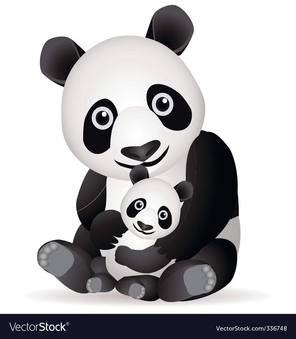 Panda family vector | Price: 1 Credit (USD $1)