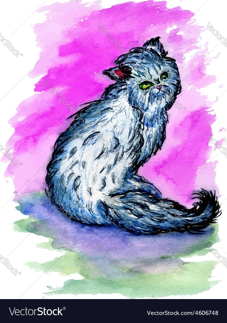 Persian cat sketch3 vector | Price: 1 Credit (USD $1)